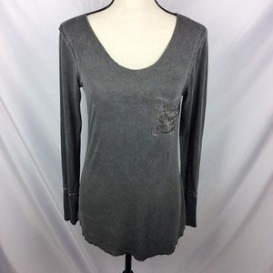 Vocal Raw Edge Embellished Tunic Top Studded Bling